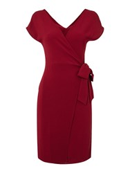 Therapy Luna Wrap Belted Dress Burgundy