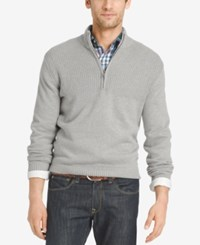 Izod Men's Dual Texture Quarter Zip Sweater Light Grey Heather
