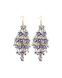 Chamak By Priya Kakkar Diamond Shape Tiered Earrings Blue