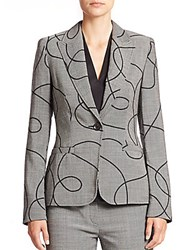 Escada Swirl Print Wool Blazer Grey Black