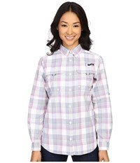 Columbia Super Bahama L S Shirt Bluebell Large Plaid Women's Long Sleeve Button Up Gray