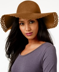Nine West Perforated Floppy Felt Hat Camel