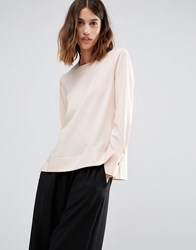 Warehouse Dipped Hem Blouse Blush Pink