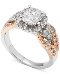 Macy's Diamond Two Tone Engagement Ring 1 1 2 Ct. T.W. In 14K White And Rose Gold