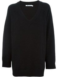 T By Alexander Wang V Neck Sweater Black