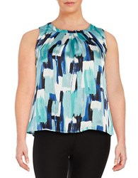 Nipon Boutique Plus Printed Roundneck Blouse Sky Blue Multi