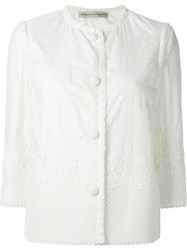 Ermanno Scervino Lace Panel Jacket Nude And Neutrals