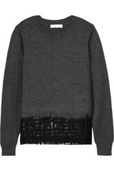 Milly Mesh Paneled Wool Sweater Charcoal