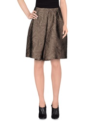 Charlott Knee Length Skirts Dark Brown