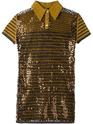 Jean Paul Gaultier Vintage Sequinned Polo Shirt Brown
