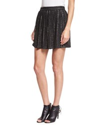 Haute Hippie Leather Sequin Mini Skirt Black
