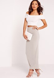 Missguided Ribbed Maxi Skirt Grey Grey