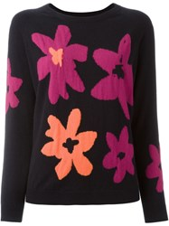 Chinti And Parker Floral Intarsia Jumper Blue