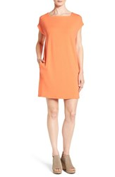Eileen Fisher Petite Women's Jersey Square Neck Knee Length Shift Dress Guava
