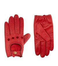 Harrods Of London Leather Driving Gloves Unisex Red