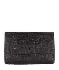 Vince Signature Croc Clutch Bag Black