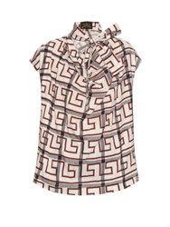 Vivienne Westwood Garret Neck Tie Checkered Blouse White Multi