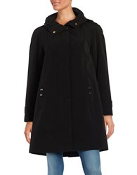 Gallery Plus Hooded A Line Swing Coat Black