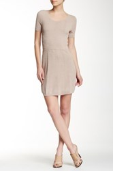 The Kooples Textured Knit Scoop Neck Fit And Flare Dress Beige