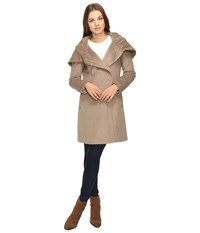 Cole Haan Hooded Asymmetrical Zip Front Coat Oatmeal Women's Coat Brown