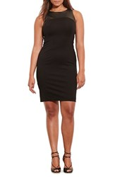Lauren Ralph Lauren Plus Size Women's Faux Leather Yoke Sleeveless Ponte Sheath Dress