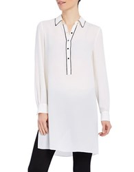Ellen Tracy Solid Long Sleeve Tunic White
