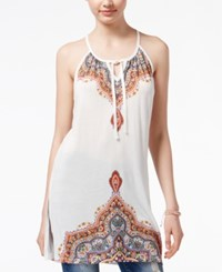American Rag Printed Tie Front Tunic Top Only At Macy's White Multi