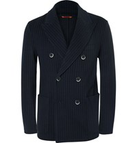 Barena Navy Pinstriped Virgin Wool And Cotton Blend Blazer Blue
