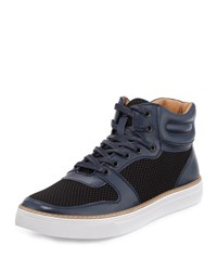 English Laundry Preston Leather Mesh High Top Sneaker Navy