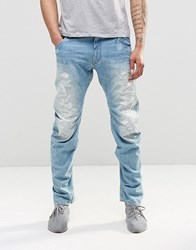 G Star Jeans Arc 3D Lose Taperd Light Aged Destroy Blue