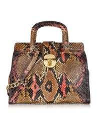 Ghibli Brown And Pink Python Satchel Bag W Detachable Shoulder Strap