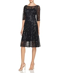 Kay Unger Sequined Mesh Dress Navy