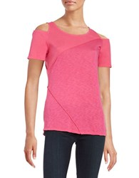 Red Haute Supima Cotton Modal Cold Shoulder Top Pink