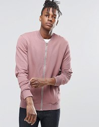 Pull And Bear Pullandbear Jersey Bomber Jacket In Pink Pink