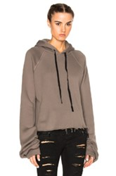 Unravel Cashmere Oversize Sleeve Hoodie In Gray