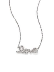 Roberto Coin Tiny Treasures Diamond And 18K White Gold Love Letter Necklace