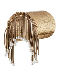 Panacea Hammered Golden Pearly Fringe Cuff Bracelet Women's