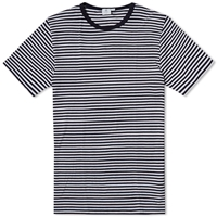 Sunspel English Stripe Crew Neck Tee White And Navy