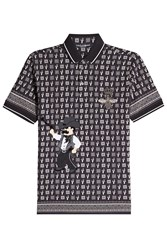 Dolce And Gabbana Embellished Polo Shirt With Cotton Wool Silk Black