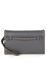 Valentino Rockstud Small Leather Clutch Light Grey