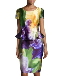 Oscar De La Renta Floral Print Short Sleeve Peplum Dress Iris Green