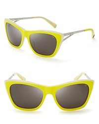 Rebecca Minkoff Waverly Cateye Wayfarer Sunglasses Yellow Crystal Silver
