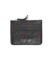 Scotch And Soda Navy Leather With Brown Dots Zip Card Wallet