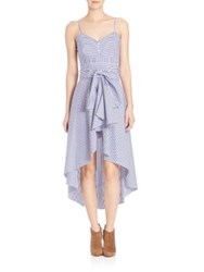 Elle Sasson Genevieve Belted High Low Dress Navy White