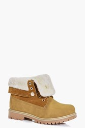 Boohoo Fur Trim Collar Hiker Boot Sand