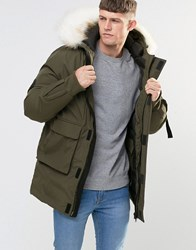 Bellfield Faux Fur Trim Parka Dark Olive Green
