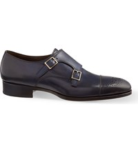 Tom Ford Austin Double Strap Monk Shoes Blue