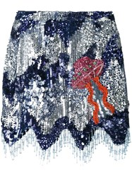 House Of Holland Sequined Scalloped Hem Skirt Blue