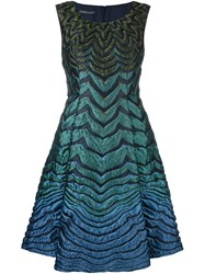 Alberta Ferretti Ombre Stripe Pattern Dress Blue