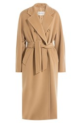 Max Mara Virgin Wool Belted Coat Camel